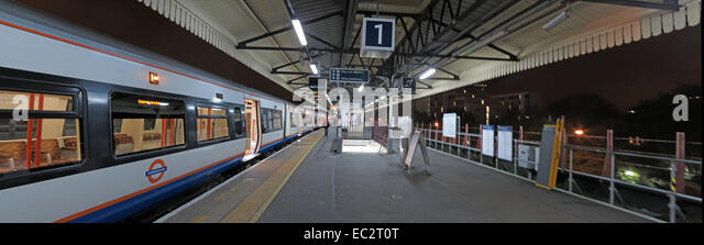 Clapham Junction platform One at night, London, England, UK - Stock Image