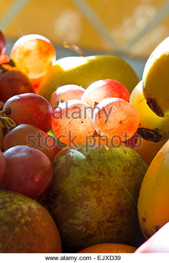 Mixed Fruit with Grapes, Close-up View - Stock Image
