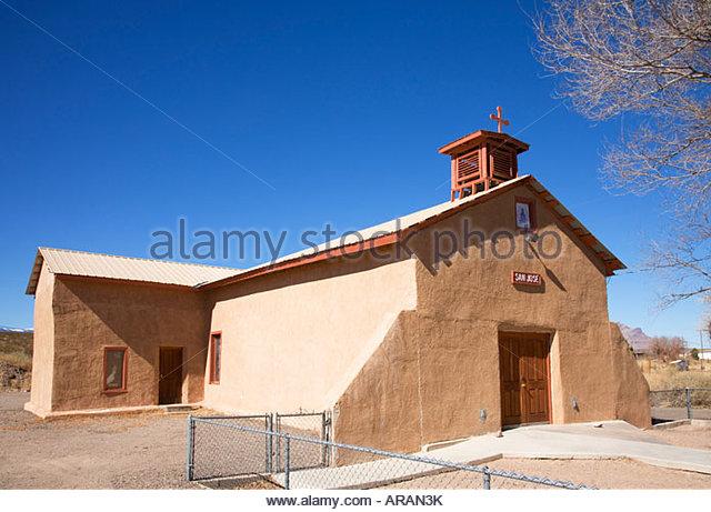 San Jose Catholic Church Luis Lopez New Mexico small rural parish rural church - Stock Image