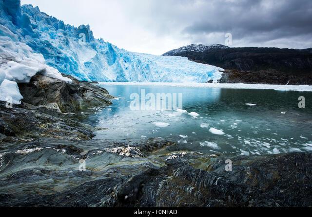 Brujo Glacier Asia Fjord Patagonia Chile - Stock Image