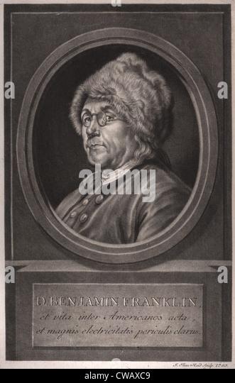 Benjamin Franklin, et vita inter Americanos acta et magnis electricitatis periculis clarus, Benjamin Franklin, head - Stock Image