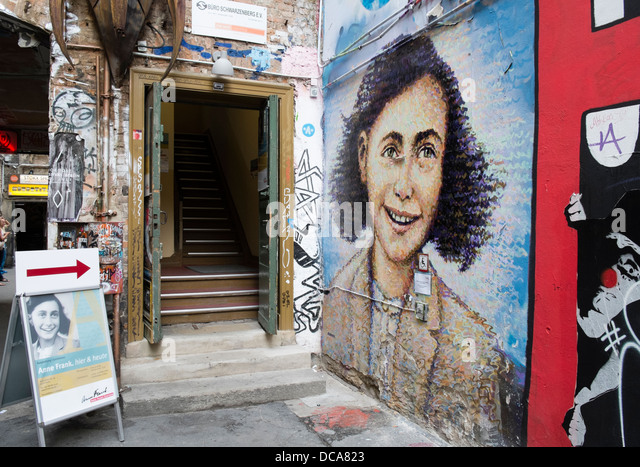 Entrance to Anne Frank exhibition in Berlin Germany - Stock Image