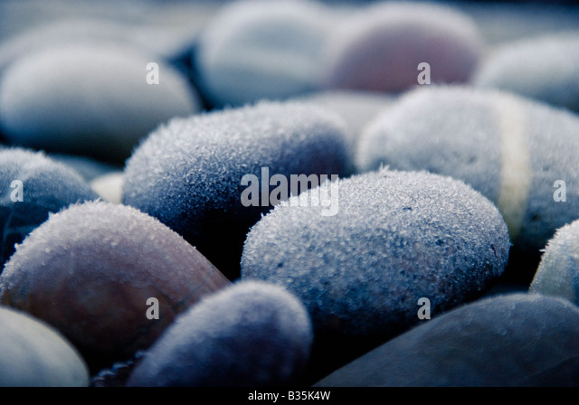 Frosted pebbles - Stock Image