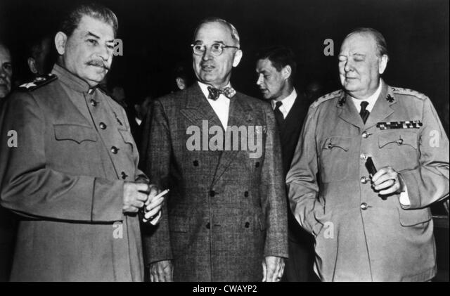 The Potsdam Conference, Josef Stalin, Harry S. Truman, Winston Churchill, 1945. - Stock Image