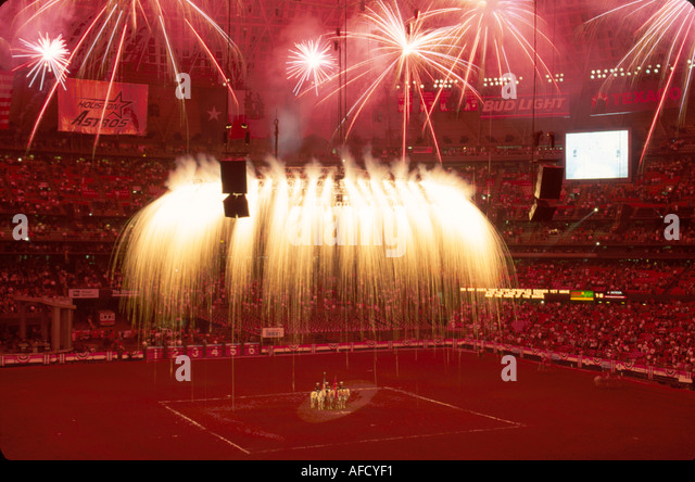 Texas The Southwest Houston Astrodome annual Livestock Show & Rodeo opening ceremony fireworks TX010 - Stock Image