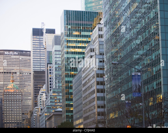 Skyscrapers on Park Avenue, New York, USA - Stock Image