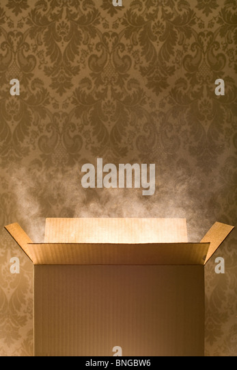 Empty cardboard box with magic dust coming out of it - Stock Image
