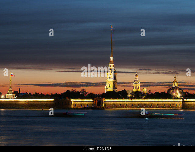 Cathedral of St. Peter and St. Paul at dusk, St. Petersburg, Russia, Europe - Stock Image