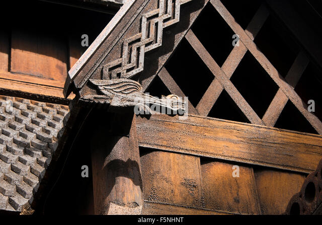 Norway, Oslo, Norsk Folk Museum (aka Norsk Folkemuseum). Historic wooden Stave Church from Gol, c.1200. - Stock Image