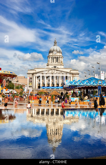 The Council House Nottingham with the temporary urban beach - Nottingham Riviera, Old Market Square, Nottingham - Stock Image
