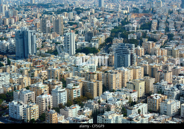 Aerial view of the City of Tel Aviv, Israel - Stock Image