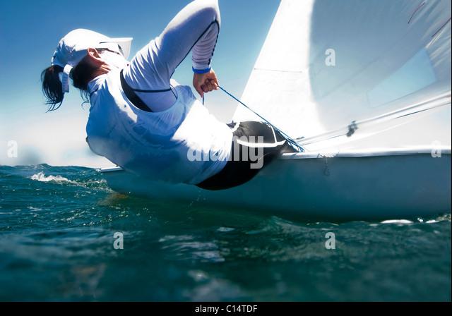 A female athlete Laser training in La Cruz, Mexico - Stock Image