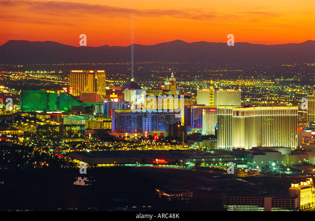 Elevated view of casinos on The Strip, Las Vegas, Nevada, USA - Stock Image