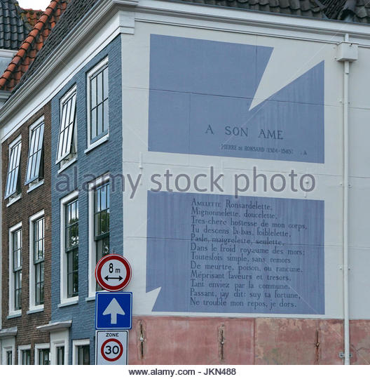 Pierre de Ronsard 1524 – 1585 French poet.in France they called him a 'prince of poets'.Wall poem A son - Stock Image