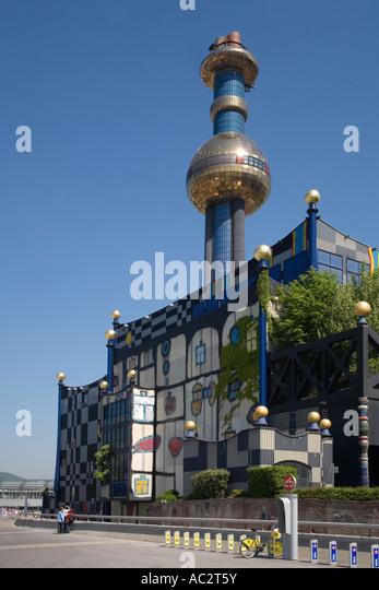 Vienna Spittel Hundertwasser building in Spittelau - Stock Image