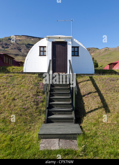 Old army Barracks converted to Summer homes, Hvalfjordur, Iceland - Stock Image