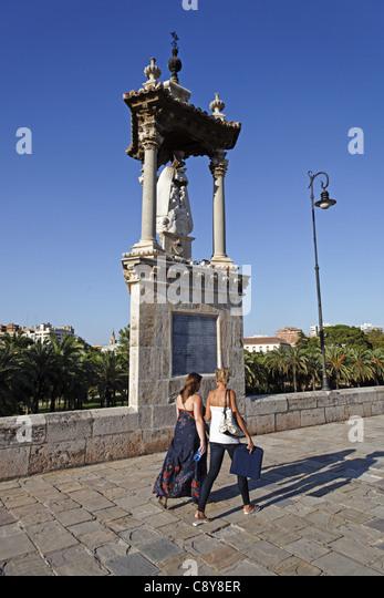Puente del Mar, roman bridge, Valencia, Spain - Stock Image