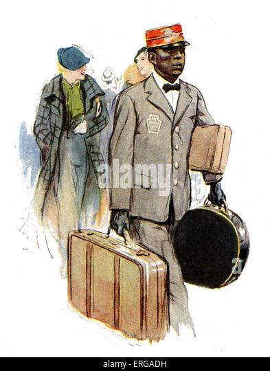 Railway staff uniforms, 1920-30s: American transit railway station porter. - Stock Image