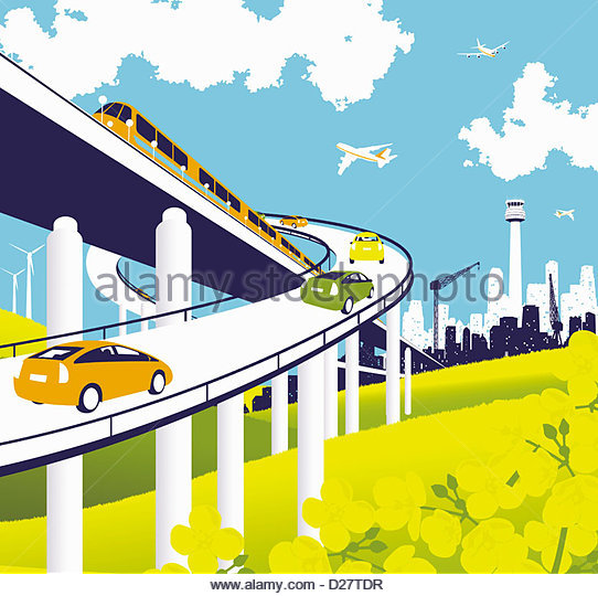 Elevated road and rail with train, cars, and airplanes - Stock-Bilder