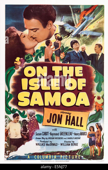 ON THE ISLE OF SAMOA, US lobbycard, top left: Susan Cabot, Jon Hall, 1950 - Stock Image
