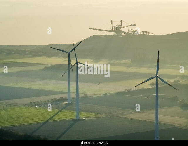 Aerial view, lignite excavator at Niederzier Hambach with wind turbines, renewable energy sources and fossil fuels, - Stock Image