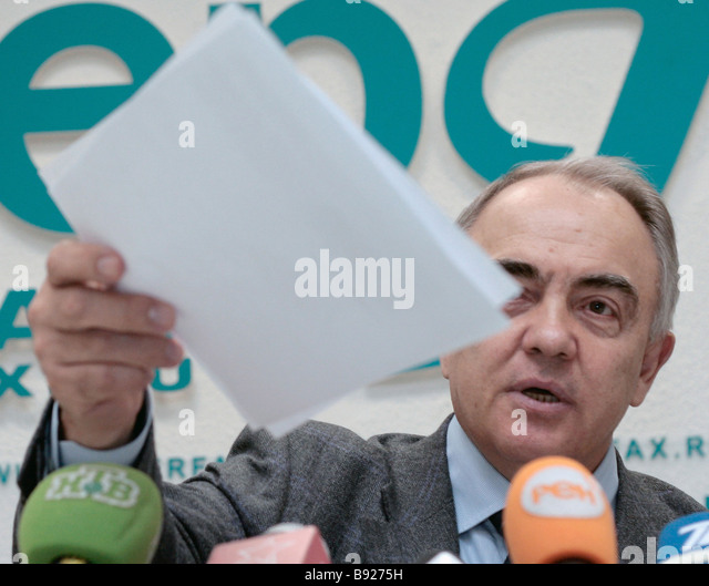 Yuri Kalinin the director of the Federal Penitentiary Service at a news conference on the theme The first results - Stock Image