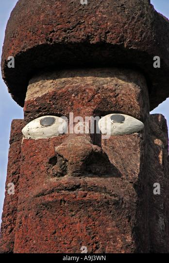 Chile Easter Island moai statue head closeup - Stock Image