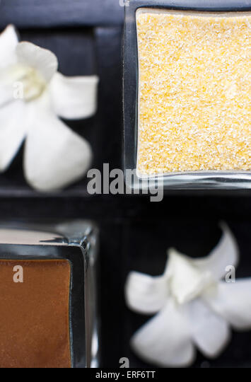 A tray of body scrubs displayed at IN-DI-GO Spa, Phuket, Thailand. - Stock-Bilder