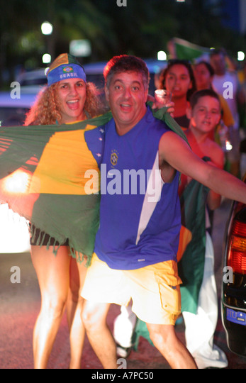 Miami Beach Florida South Beach 'Ocean Drive' Brazil wins Copa America soccer game Brazilians celebrate - Stock Image