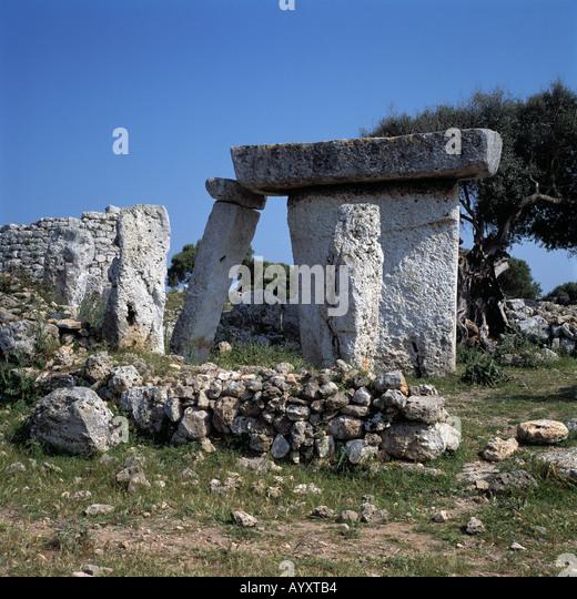 Megalith-Denkmal, Taula, praehistorisch, Steinzeit, Talati de DAlt, Menorca, Balearen - Stock Image