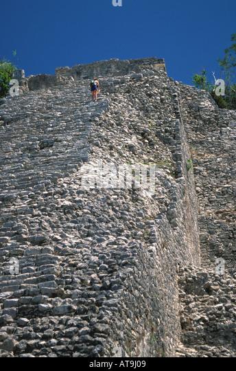 mexico nohoch mul pyramid coba - Stock Image