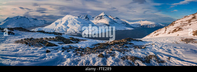 Panoramic view towards Store Blamann and the open ocean from Rodtinden, Kvaloya, Troms, Northern Norway - Stock Image