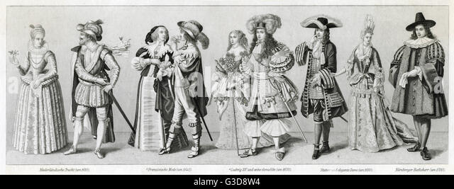 Costume styles, 17th century, from left to right: Dutch couple circa 1610, French couple circa 1640, King Louis - Stock-Bilder
