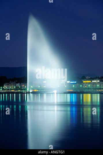 Jet D'eau, Geneva, Switzerland - Stock Image