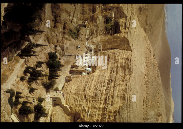 GREEK ORTHODOX MONASTERY OF ST. GEORGE BUILT IN THE 5TH. C. IN WADI KELT IN THE WILDERNESS OF JUDEA BETWEEN JERUSALEM - Stock Image