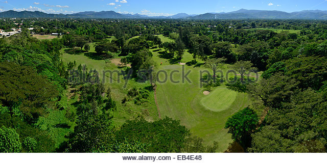 An aerial view of Bonao Golf Course. - Stock Image