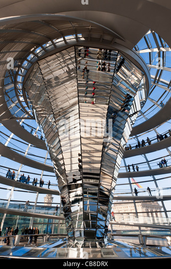 View of the glass dome above debating chamber at the Reichstag in Berlin Germany; Architect Norman Foster - Stock Image