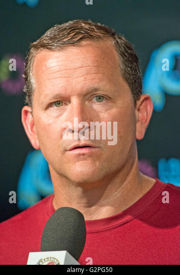 Washington Redskins defensive coordinator Joe Barry meets the media following an organized team activity (OTA) at - Stock Image