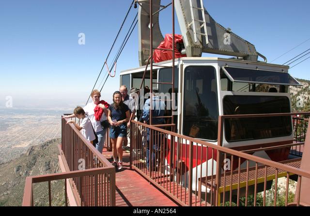 Albuquerque New Mexico Sandia Peak Aerial Tramway world's longest ft. at top W - Stock Image