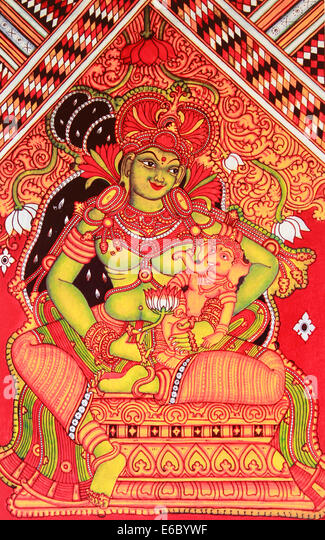 Mural painting of Hindu goddess Parvati with her son ganesha - Stock Image