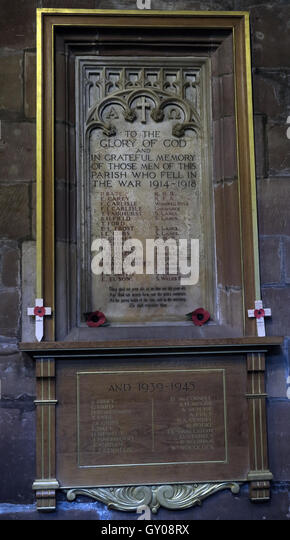 St Wilfrids Church Grappenhall- 1914-18 fallen,to glory of God, Warrington - Stock Image