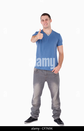 Portrait of a man with the thumb up - Stock Image