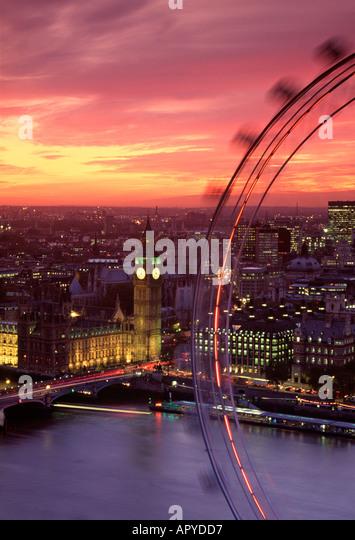 Parliament & London Eye, London, England - Stock Image