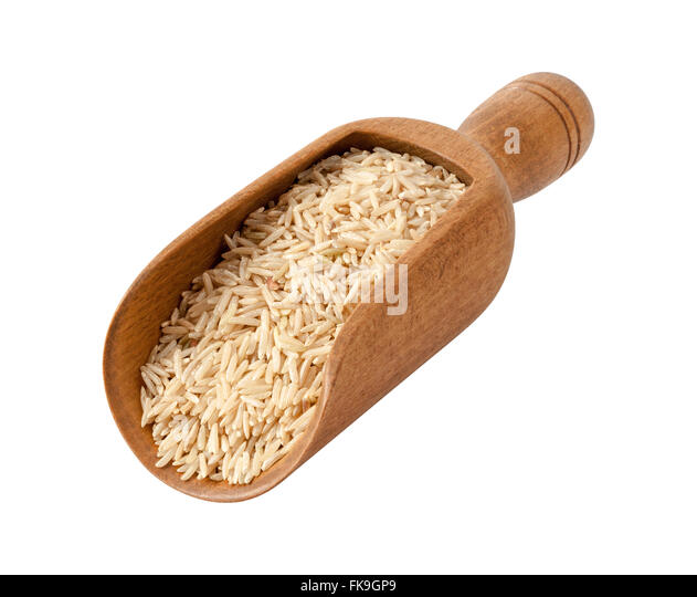 Brown Basmati Wild Rice in a Wooden Scoop - Stock Image