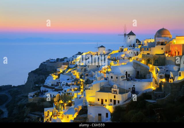 Village of Oia (La), Santorini (Thira), Cyclades Islands, Aegean Sea, Greece, Europe - Stock Image