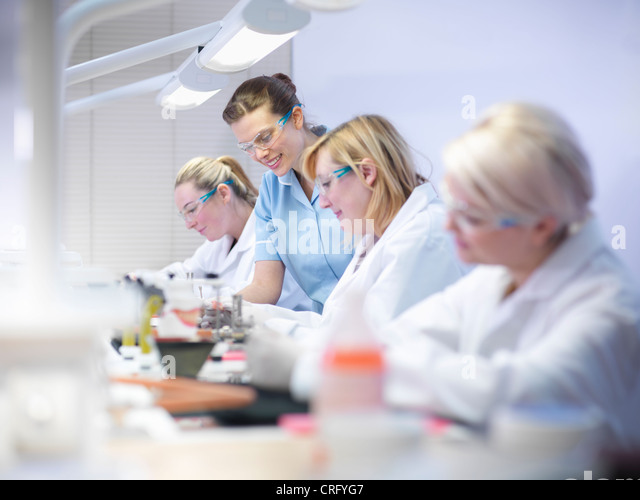 Dentist teaching students in lab - Stock Image