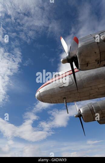 Restored vintage airplane DC-3 - Stock Image
