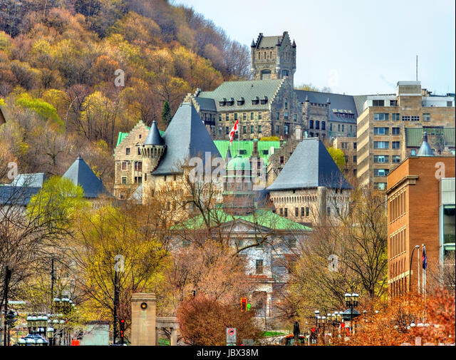 McGill University, McTavish reservoir and Royal Victoria Hospital in Montreal - Canada - Stock Image