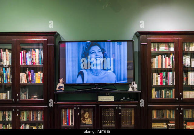 North Carolina, Smithfield, Ava Gardner Museum, museum to famous film star born in Smithfield, library with video - Stock Image
