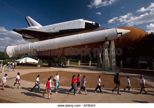Alabama Huntsville US Space & Rocket Center space shuttle exhibit Space Camp students - Stock Image